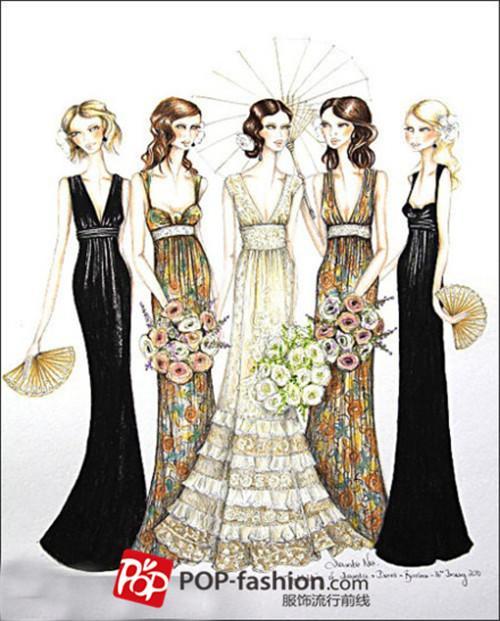 礼服手绘设计图花瓣展示