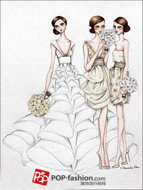 晚礼服手绘设计图短裙展示
