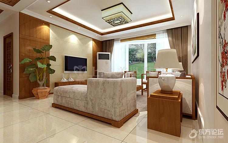 60平三室两厅新中式风格装修效果图