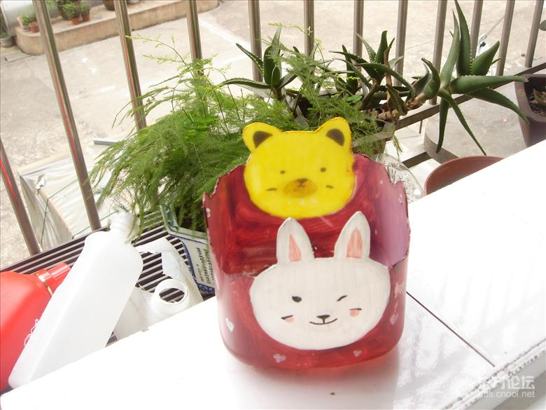 工制作:塑料瓶花盆